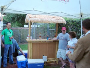 Our tiki bar at the wedding reception of our neighbor across the street.